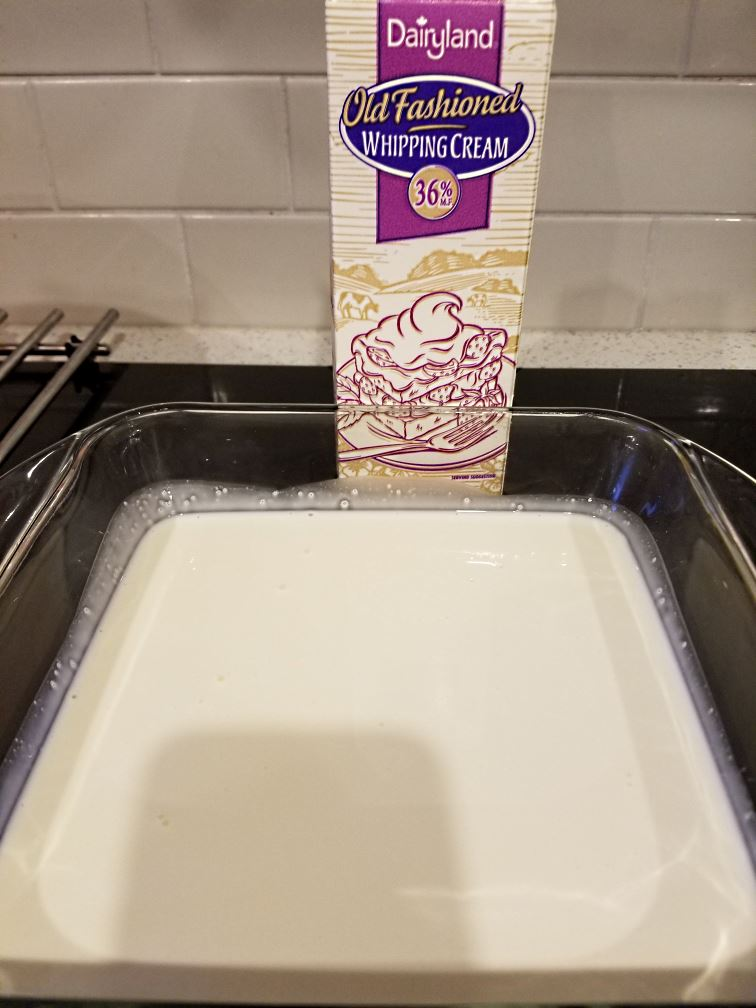 Use the highest percentage fat cream you can find, and pour it into a pan.