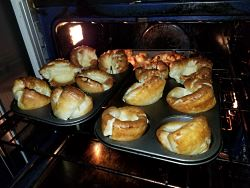 Yorkshire puddings ready to serve.